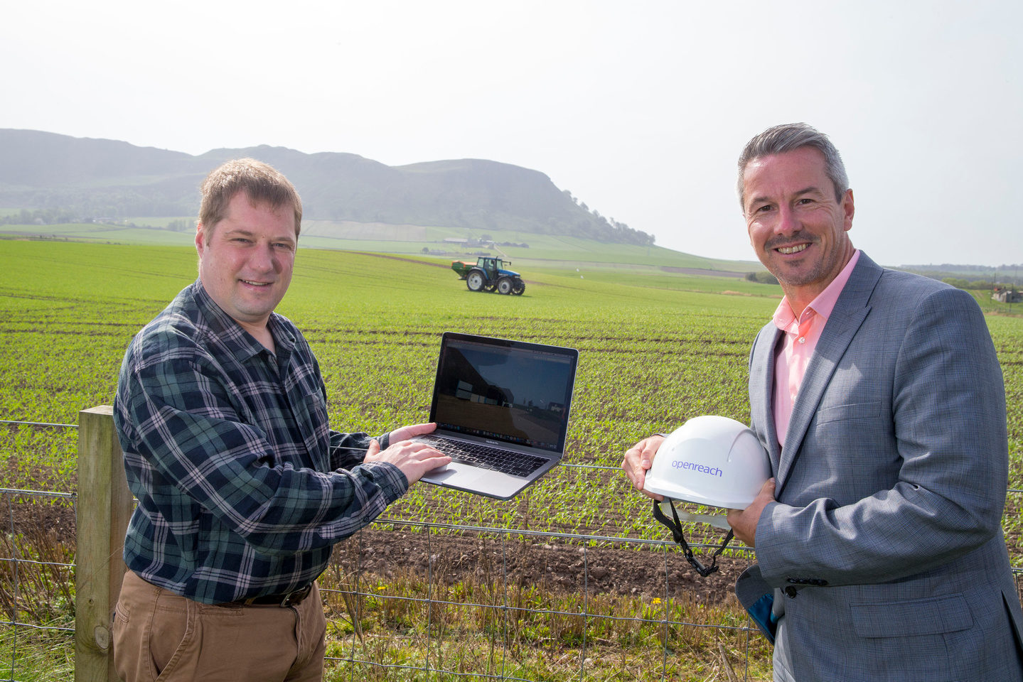 Classlochie farm resident Andrew Mitchell with Robert Thorburn, partnership director at Openreach.