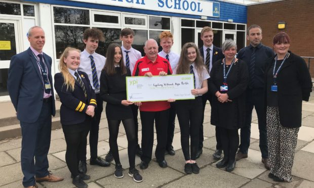 Perth High School students present their £3000 cheque.