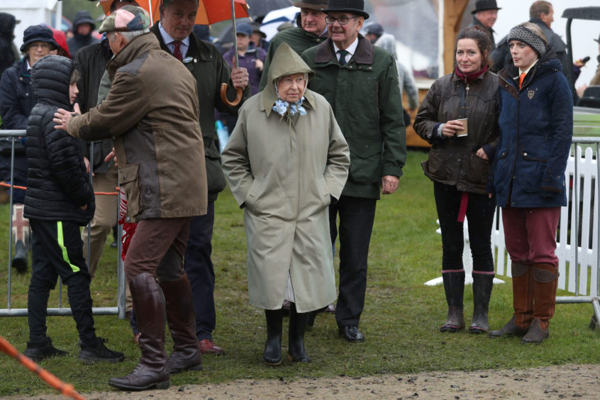 She was not put off by a rather damp first day at the Royal Windsor Show.