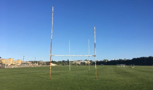 The rugby posts in Station Park