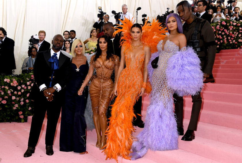 (Left to right) Corey Gamble, Kris Jenner, Kim Kardashian-West, Kanye West, Kendall Jenner, Kylie Jenner and Travis Scott attending the Metropolitan Museum of Art Costume Institute Benefit Gala 2019 in New York, USA.