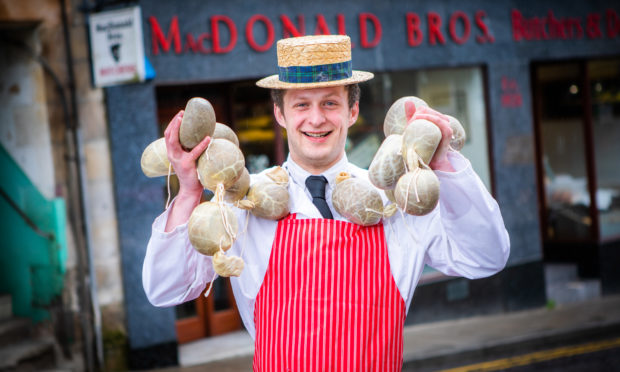 Butcher Alastair Ross at MacDonald Brothers Butchers.