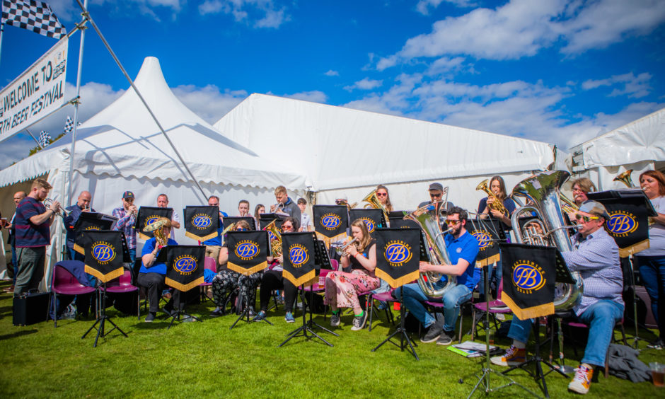 Perthshire Brass kept the entertainment flowing outside the beer festival marquee.