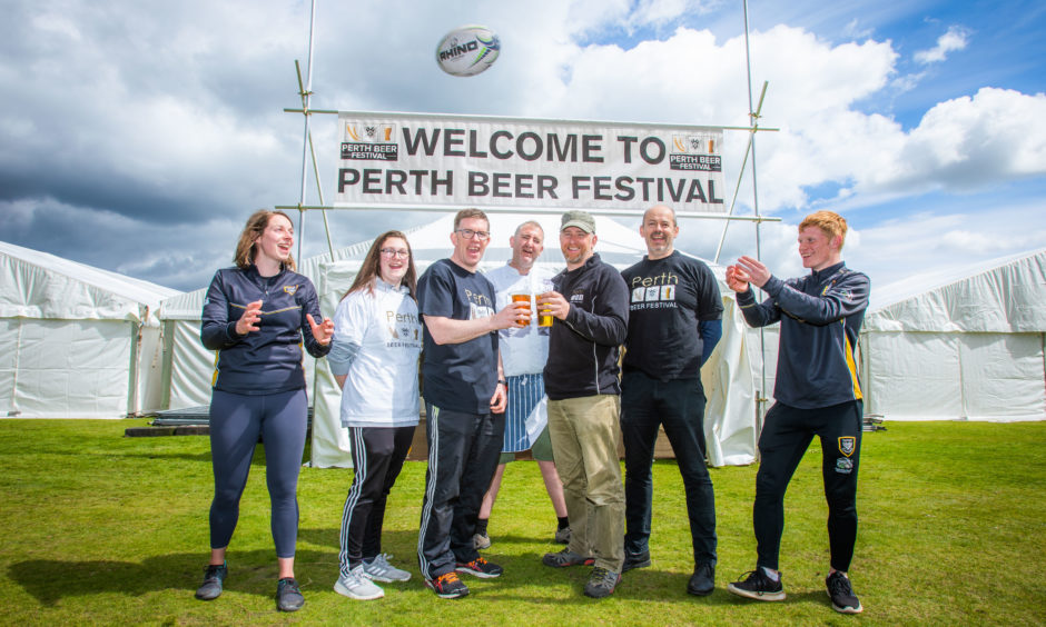 Sarah Hogwood (Development Team), Georgina Adams (helper), Allan Brown (Chief Executive of Perthshire Rugby Club) Jeremy Wares (Chef), Jim Ritchie (Perthshire Rugby Club / Perth Beer Festival), Eamon O'Brien (Perthshire Rugby Club / Perth Beer Festival) and Aidan Watson (Development Team).