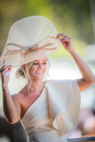 Kira Neilson from Milnathort, winner of Best Headwear Competition at Perth Ladies Day.