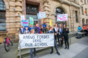 Children, parents and community representatives from Abernyte demonstrated outside Perth and Kinross Council HQ prior to council meeting on the potential closure of Abernyte Primary School.