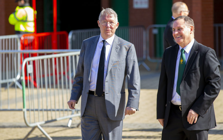 Former Manchester United manager Sir Alex Ferguson (centre) is pictured at Celtic Park, prior to the funeral of legendary European Cup winning captain Billy McNeill.