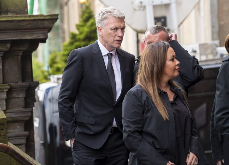 Former Everton and Manchester United manager David Moyes arrives at the funeral of legendary European Cup winning captain Billy McNeill