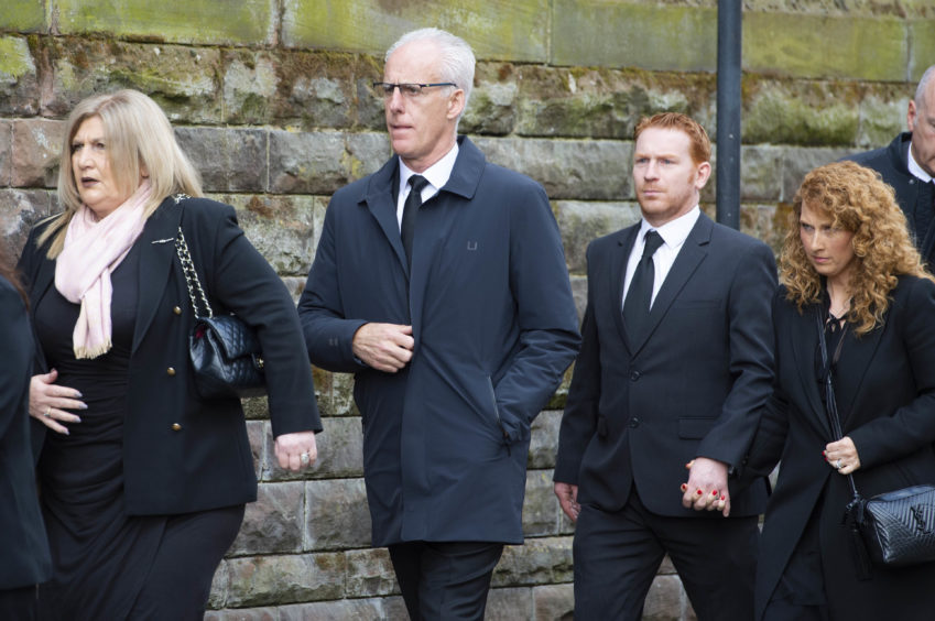 Republic of Ireland manager and former Celtic defender Mick McCarthy arrives at the funeral of legendary European Cup winning captain Billy McNeill