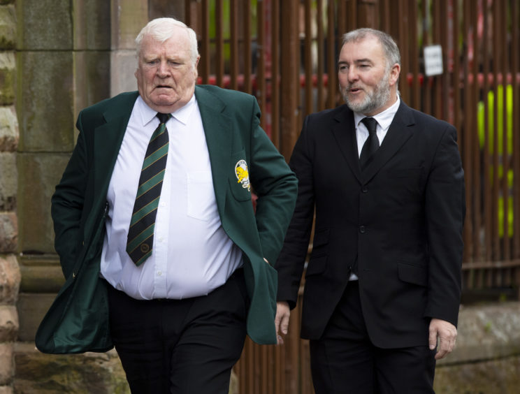 Lisbon Lion John Fallon arrives at the funeral of legendary European Cup winning captain Billy McNeill with his wife Marina