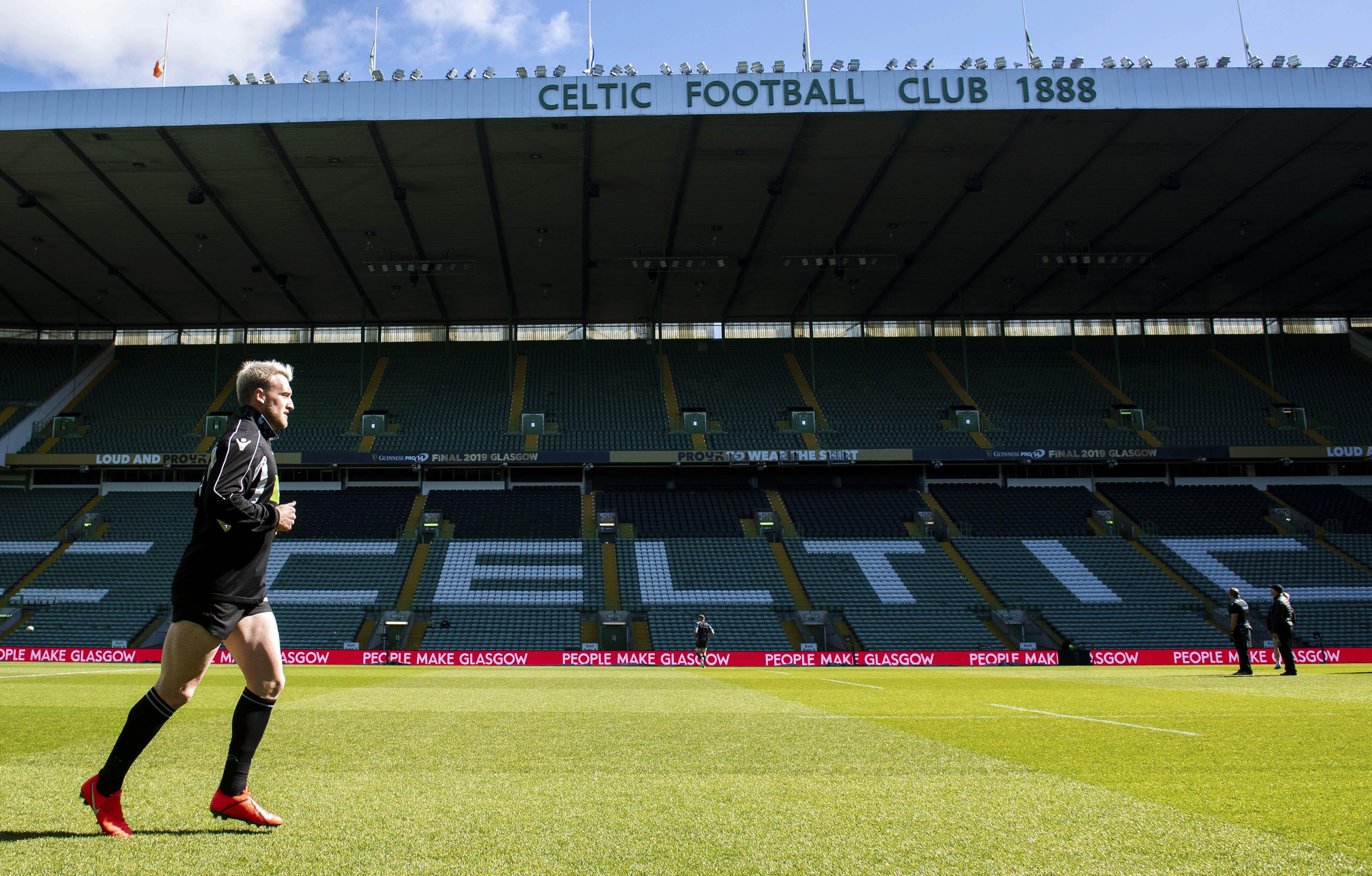 Glasgow Warriors' Stuart Hogg at Celtic Park yesterday.