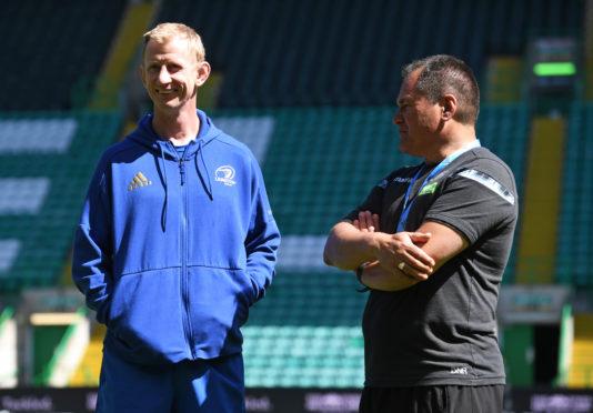 Glasgow Warriors Head Coach Dave Rennie (r) and Leinster's Leo Cullen.