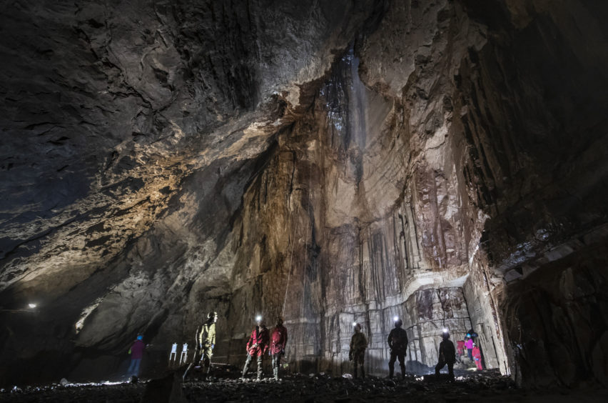 Potholers explore Gaping Gill, the largest cavern in Britain, situated in Yorkshire Dales National Park, ahead of its opening the public next weekend.