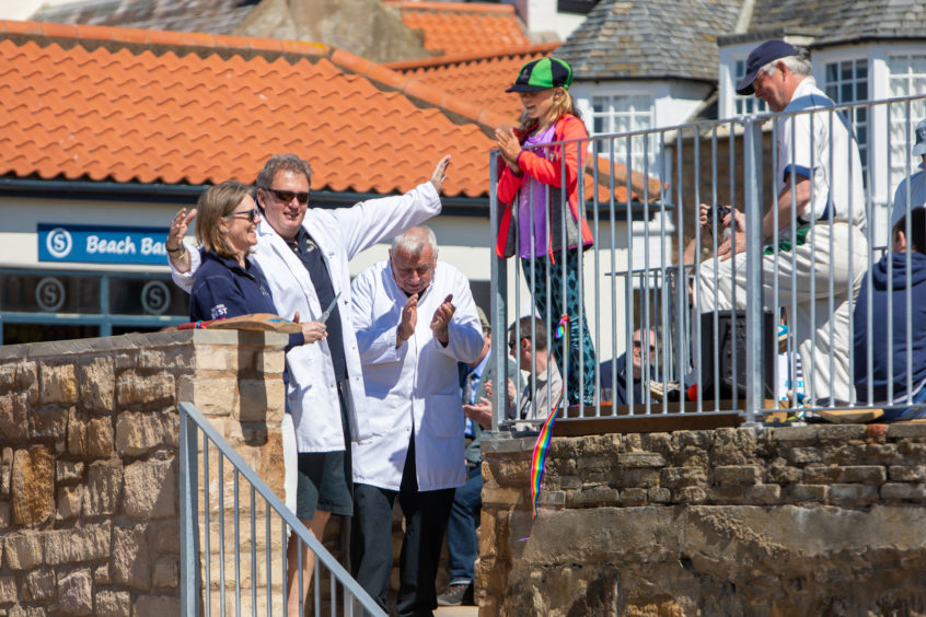 1st Game of Season at Elie for Beach Cricket.Opening ceremony of the new stairway leading to the beach by the Ship In staff Rachel and Iain .