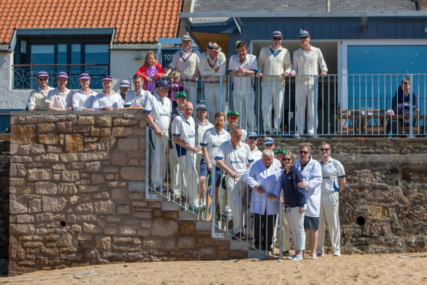 1st Game of Season at Elie for Beach Cricket. Both team players prepare to get the match underway.