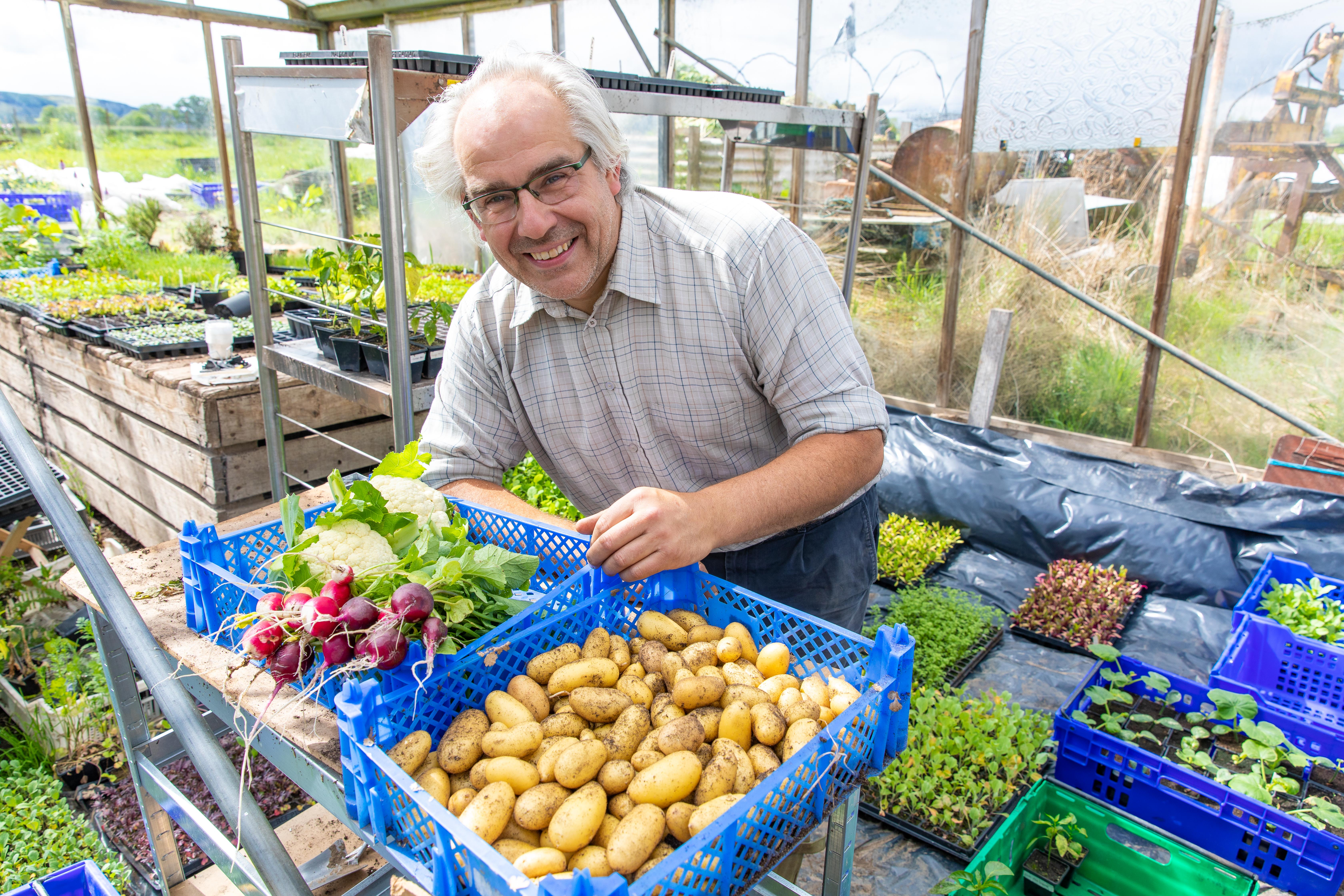 John Hepburn-Wright with some of his produce.