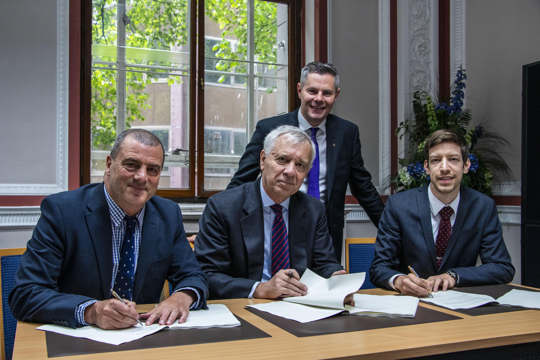 Finance secretary Derek Mackay with (L-R) Steve Dunlop, Jérôme Monsaingeon and John Alexander.