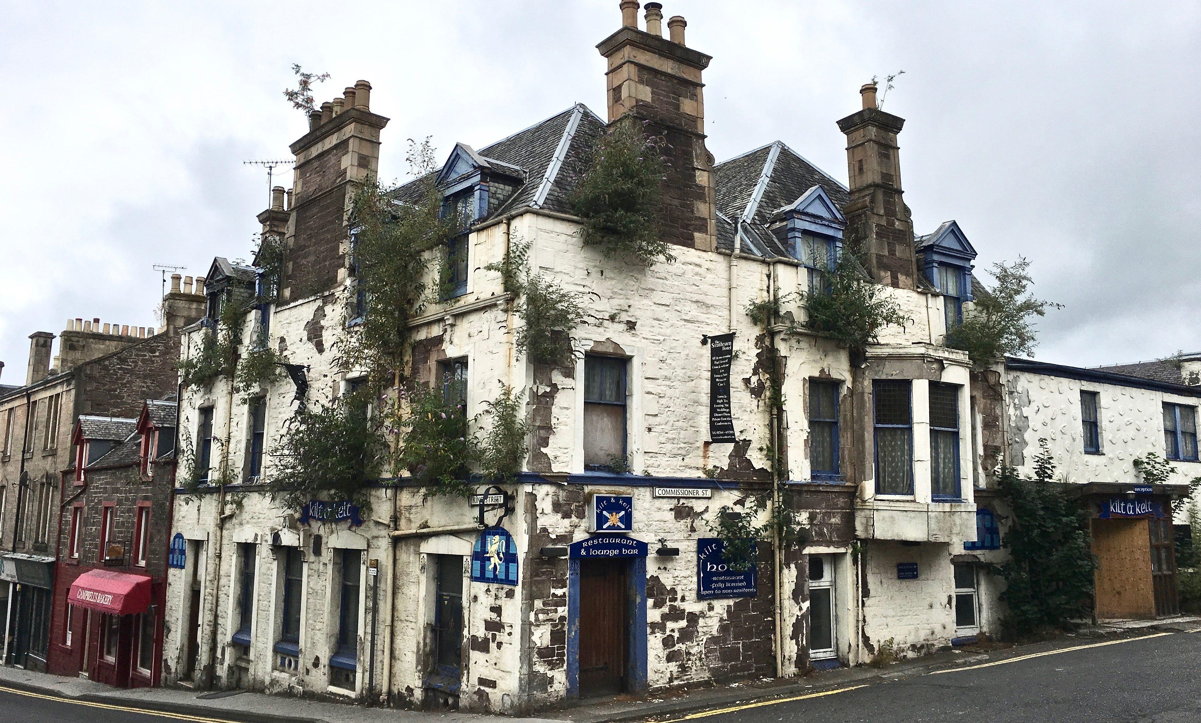 The derelict Strathearn Hotel in Crieff