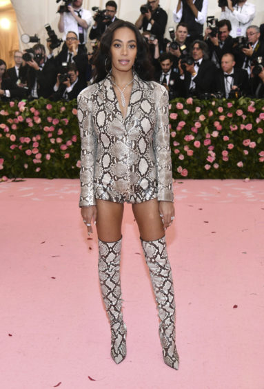 """Solange Knowles attends The Metropolitan Museum of Art's Costume Institute benefit gala celebrating the opening of the """"Camp: Notes on Fashion"""" exhibition on Monday, May 6, 2019, in New York."""