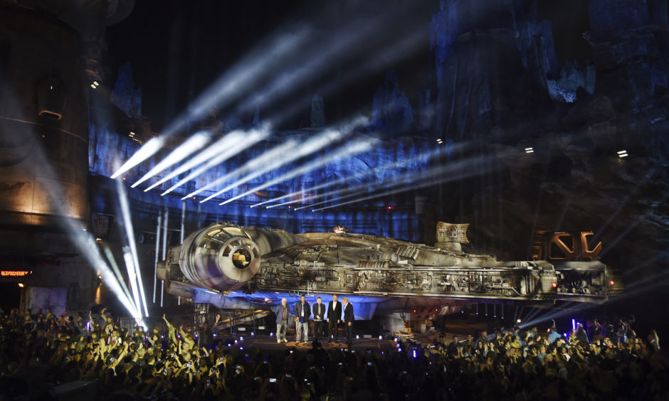 The Millennium Falcon starship is pictured onstage during a dedication ceremony for the new Star Wars: Galaxy's Edge attraction at Disneyland Park.