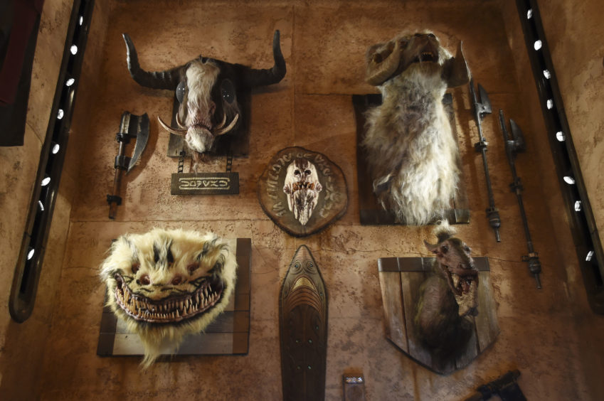 """The heads of creatures from various """"Star Wars"""" films are mounted on the wall of the Dok-Ondar's Den of Antiquities store during the Star Wars: Galaxy's Edge Media."""