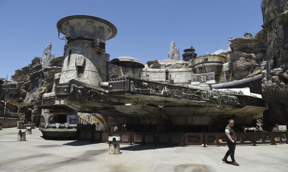 The Millennium Falcon starship structure at the Star Wars: Galaxy's Edge Media Preview at Disneyland Park, Calif.