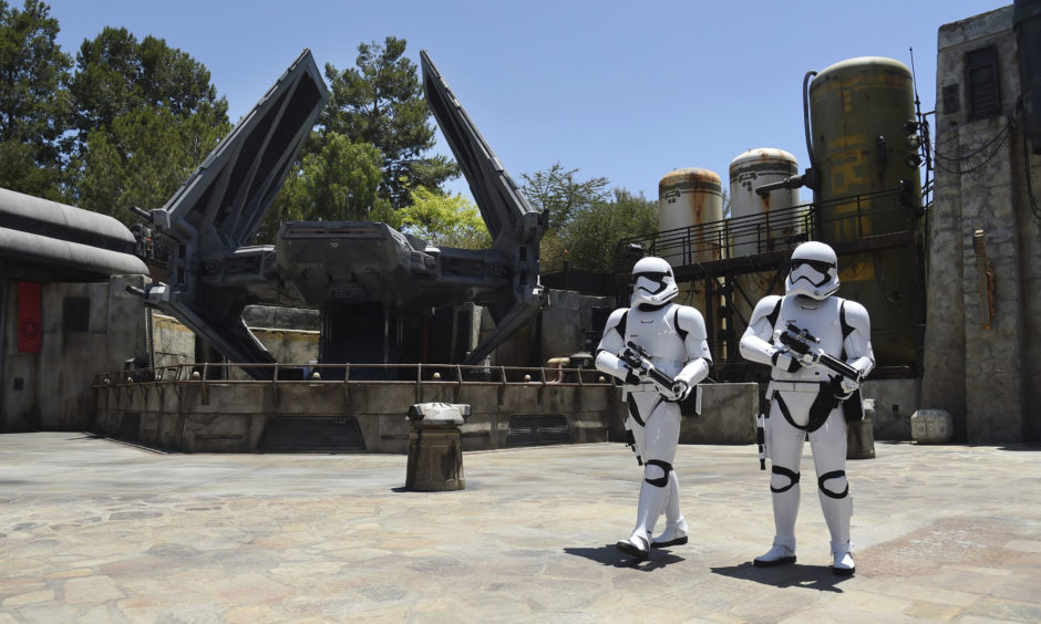 Stormtroopers patrol the Tie Echelon Stage during the Star Wars: Galaxy's Edge Media Preview at Disneyland Park.