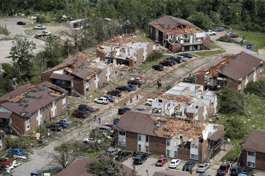 In this aerial photograph, tornado damage is seen Thursday, May 23, 2019, in Jefferson City, Mo. The National Weather Service has confirmed a large and destructive tornado touched down overnight in Missouri's state capital, causing heavy damage.