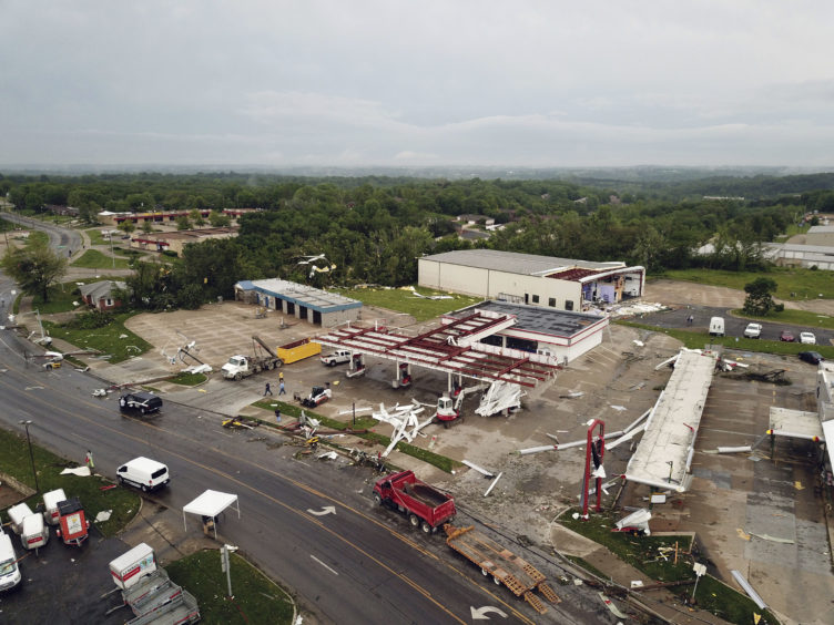 This aerial image shows severe storm damage in Jefferson City, Mo., Thursday, May 23, 2019, after a tornado hit overnight. A tornado tore apart buildings in Missouri's capital city as part of an overnight outbreak of severe weather across the state.
