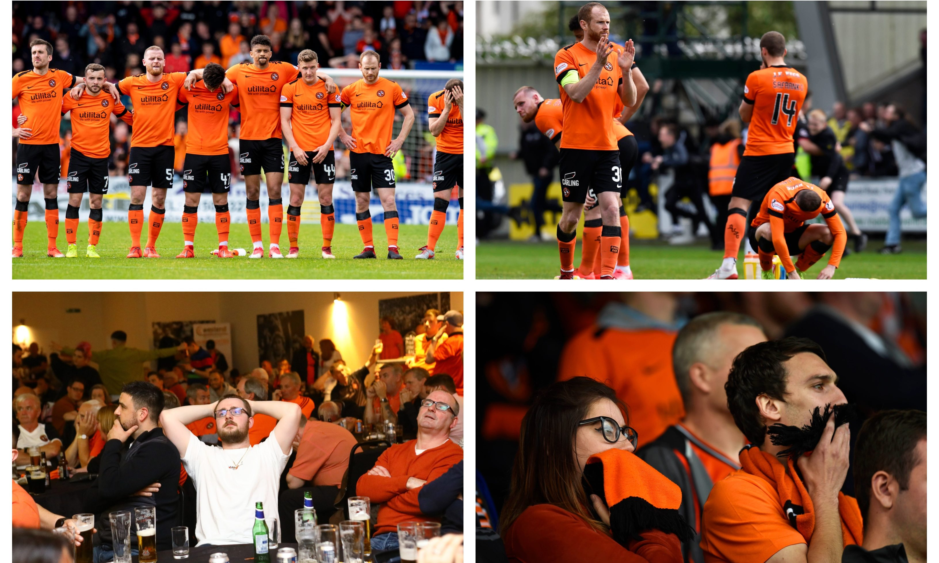 Dundee United players and fans react after the side lost to St Mirren in the play-off finals.