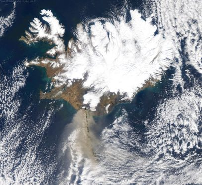 The receiving station collected this image of 2010's Icelandic volcanic eruptions