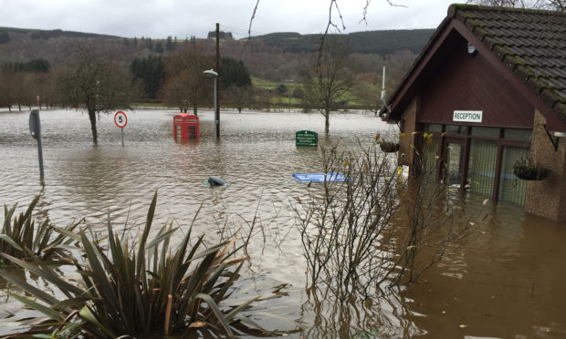 Flooding in Aberfeldy following Storm Frank in December 2015.