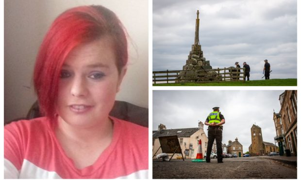 Annalise Johnstone. left, and police investigating near Dunning, right.