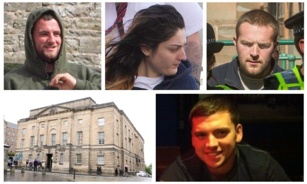 Steven Dickie (top left), Tasmin Glass (top middle) and Callum Davidson (top right) were all convicted of killing Steven Donaldson (bottom right).