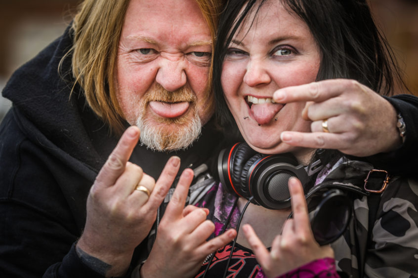 BonFest - annual AC/DC Festival held in Kirriemuir where hundreds of rockers will flock to see various bands. Picture shows; Bob Boyd from Broughty Ferry and Heather Brownlee from Whitfield enjoy BonFest.