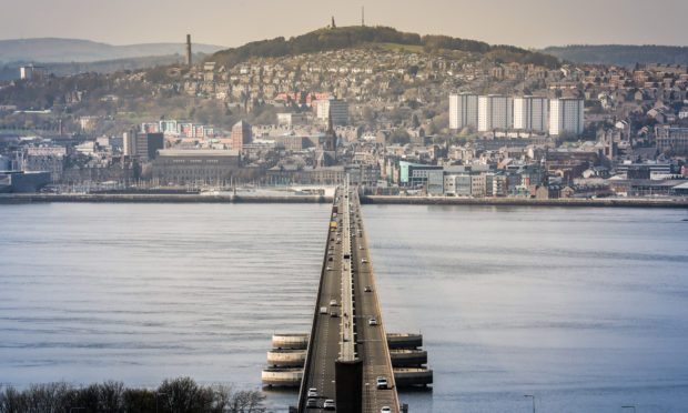 Dundee pictured from the Fife end of the Tay Road Bridge.