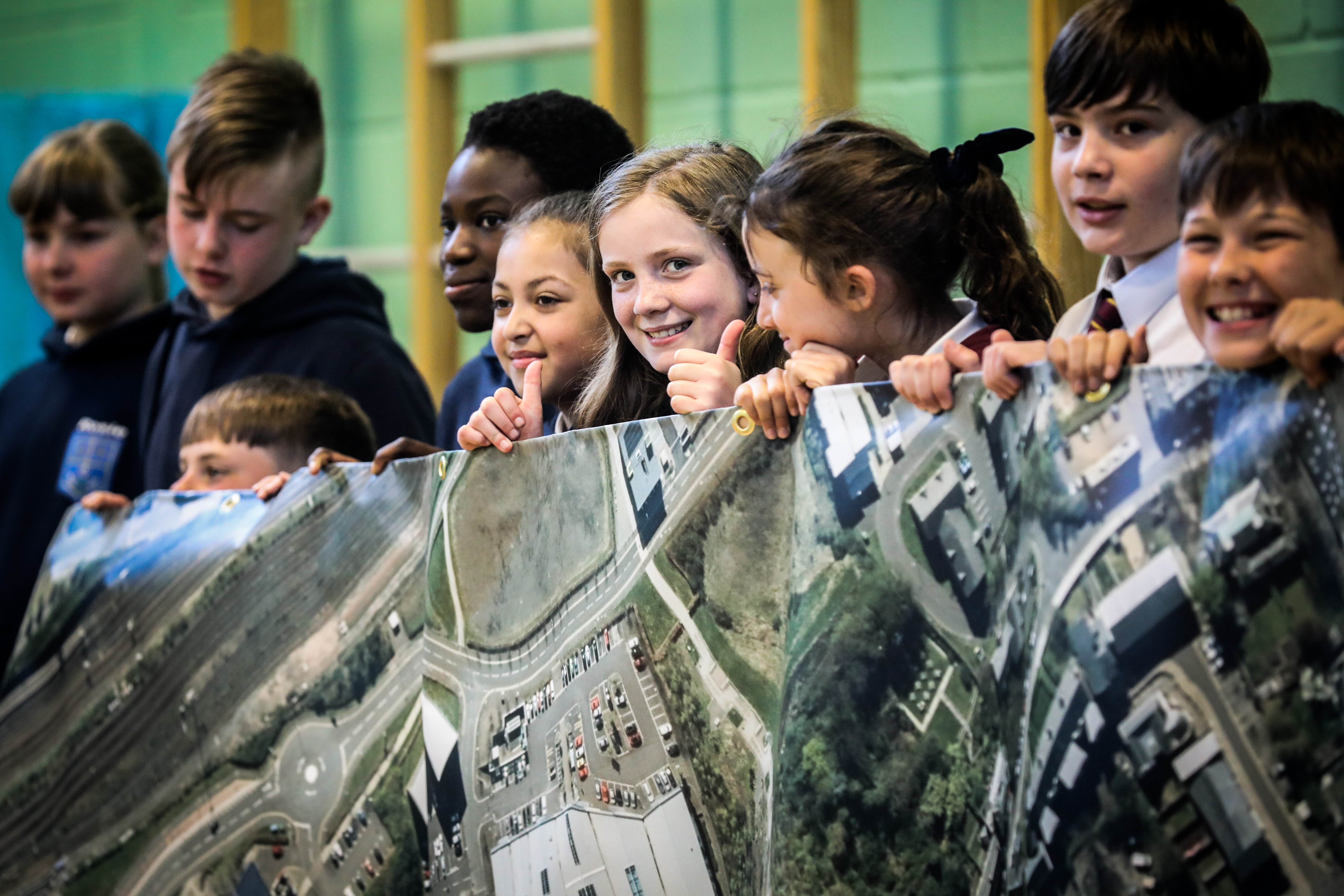 Pupils from the schools look at the map of Perth Road.