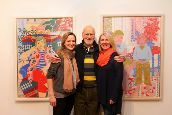 Norman Gilbert with Tatha Gallery owners Helen Glassford and Lindsay Bennett in 2018.