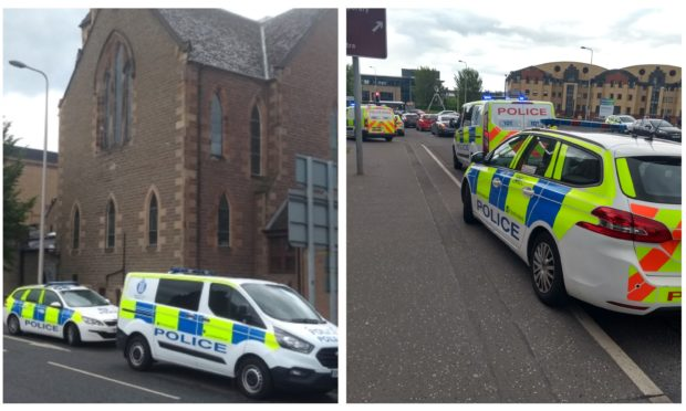 Police outside Meadowside St Paul's Church.
