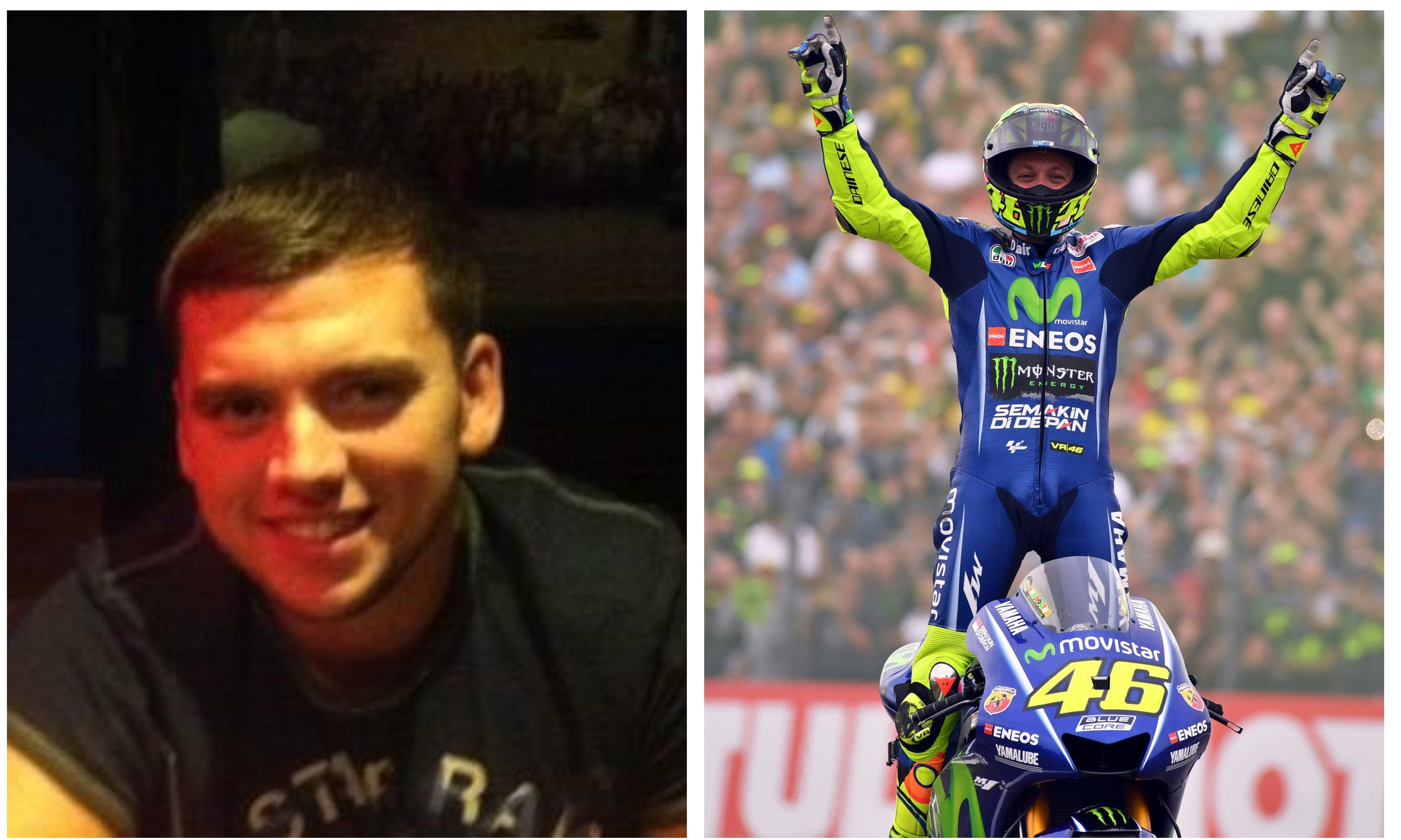 Steven Donaldson, left, and one of his motoring heroes Valentino Rossi, right.