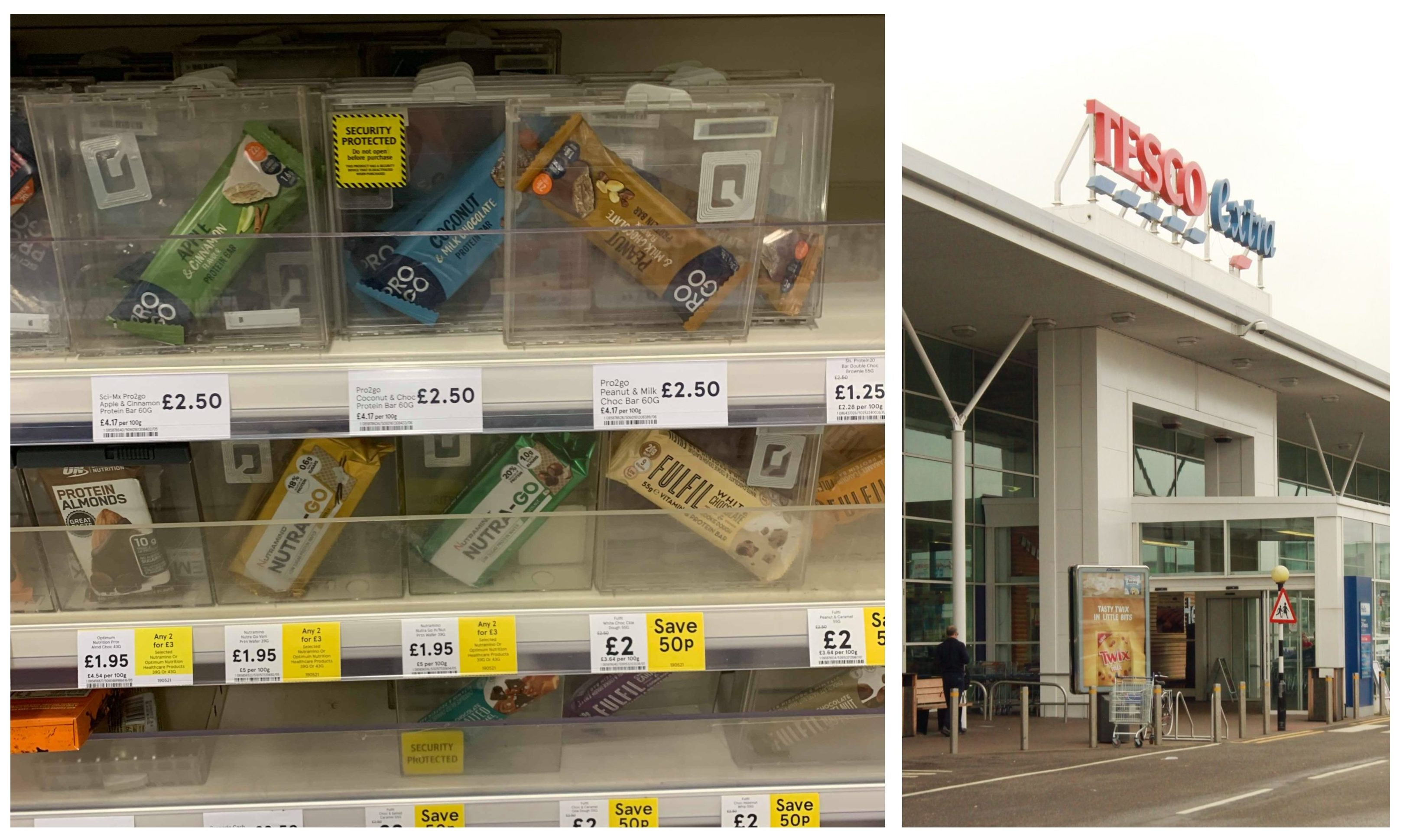 The individually boxed protein bars are on sale in the Kingsway Tesco.
