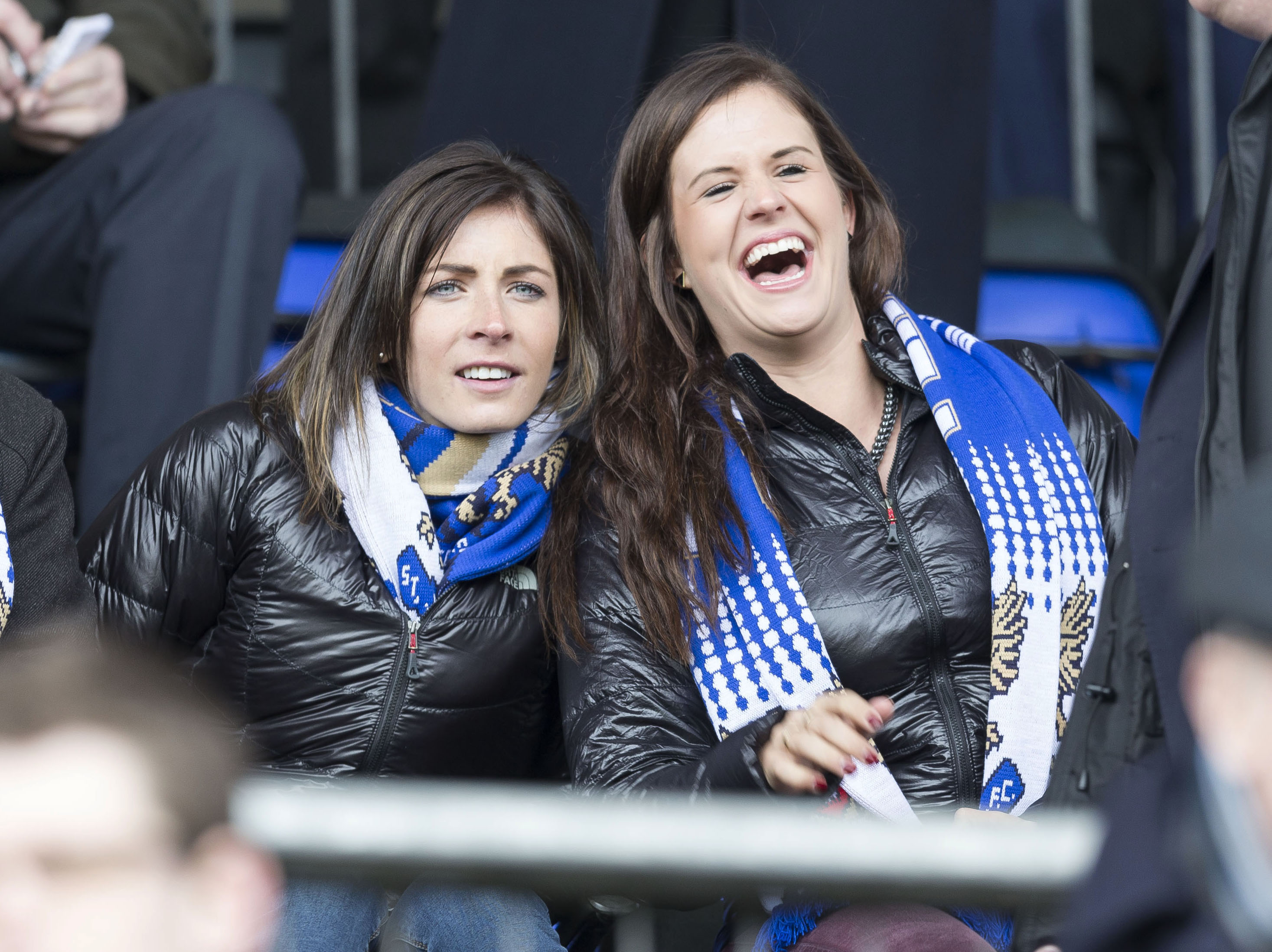 Eve and Vicki at a St Johnstone game.