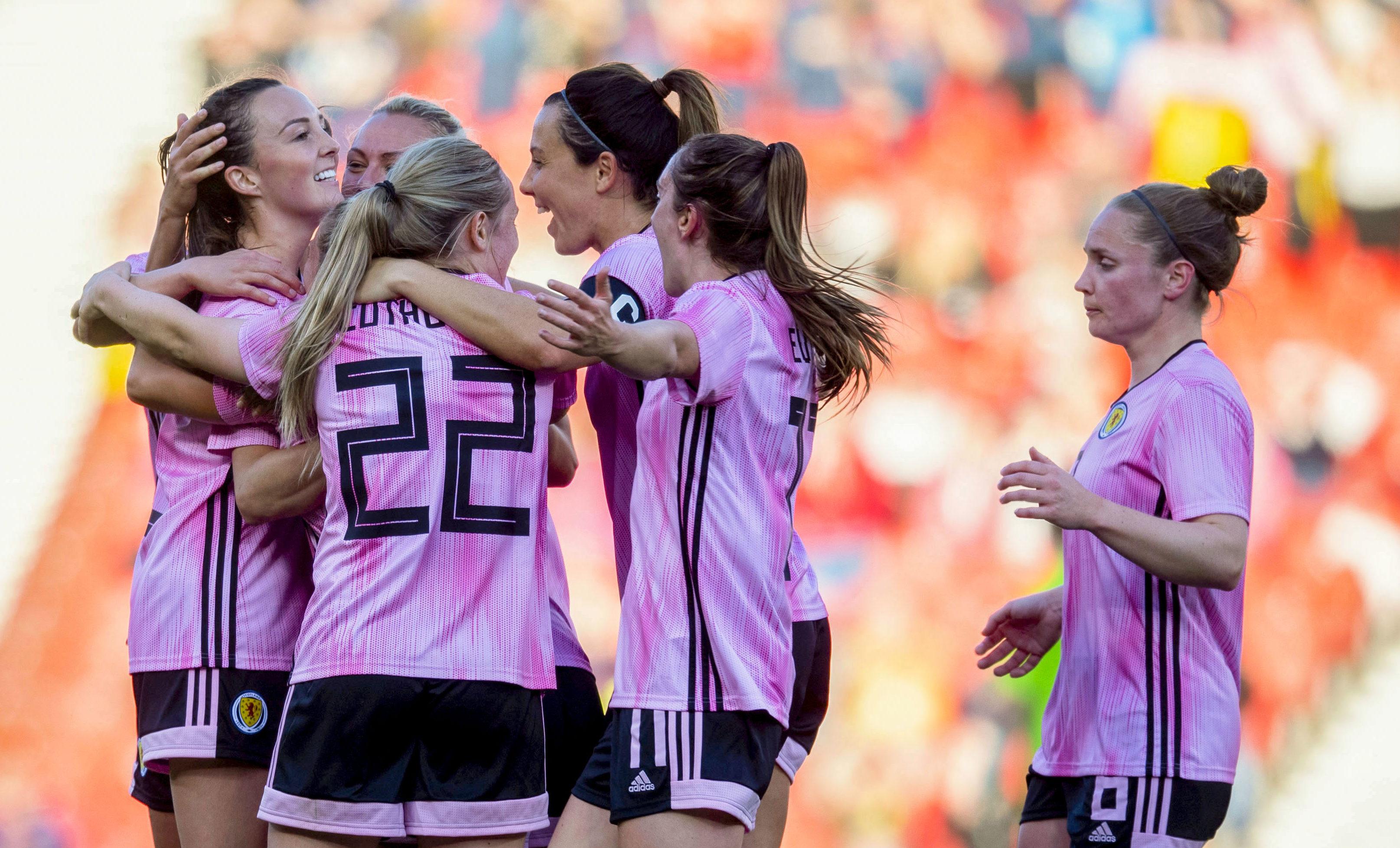 The Scots celebrate Caroline Weir's goal.