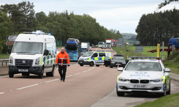 Emergency services at the scene of the A90 crash.