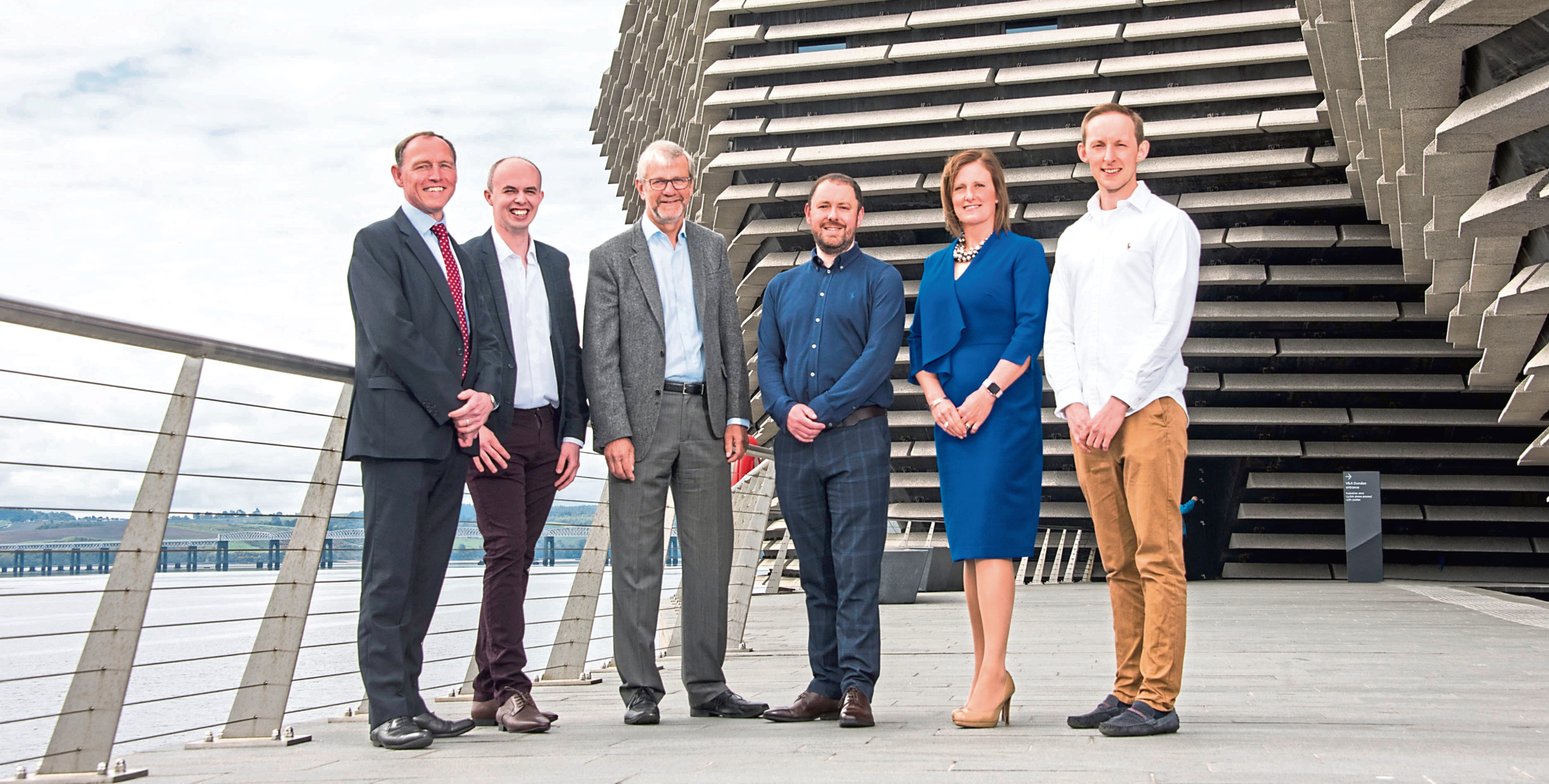 Caption information: L-R Andrew Walker, corporate finance partner and Dundee project leader; Ryan Milne, business advisory manager; Sir Pete Downes, senior consultant; Ryan Diplexcito, business advisory partner; Jenn Stewart, restructuring director; Andrew McMillan, innovation taxes senior manager.   Pic Alan Richardson Pix-AR.co.uk Free to Use Johnston Carmichael, Dundee