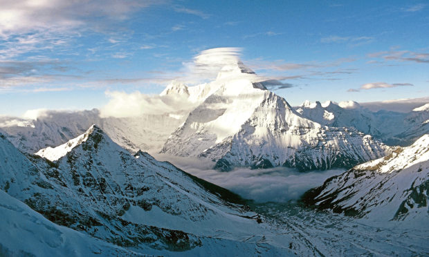 Nanda Devi, a two-peaked massif in the Himalayas, Uttarakhand State, India.