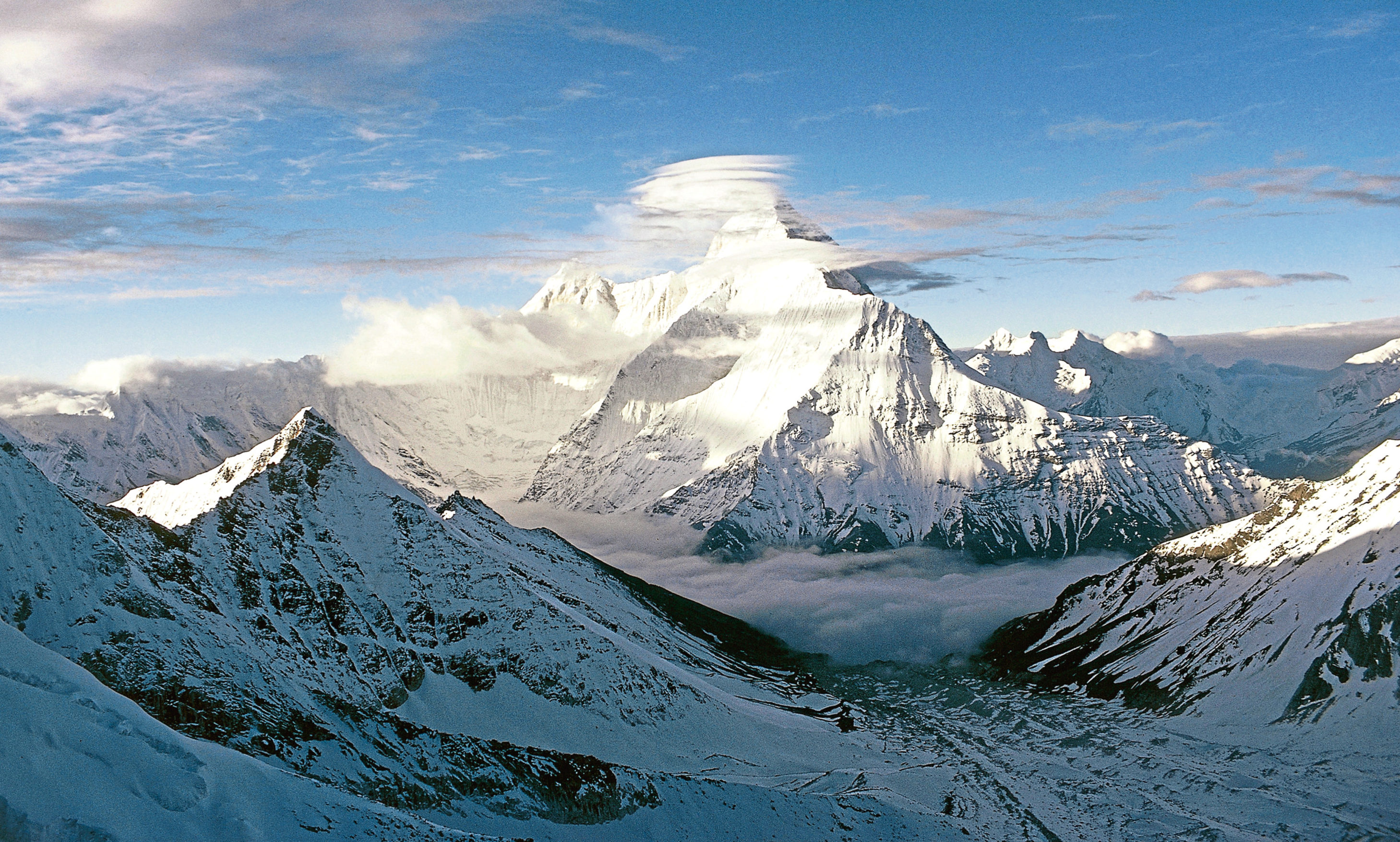 Nanda Devi, a two-peaked massif in the Himalayas, Uttarakhand State, India.