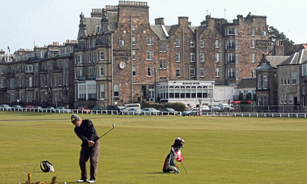 Rusacks Hotel in St Andrews, which overlooks the final hole of the Old Course.