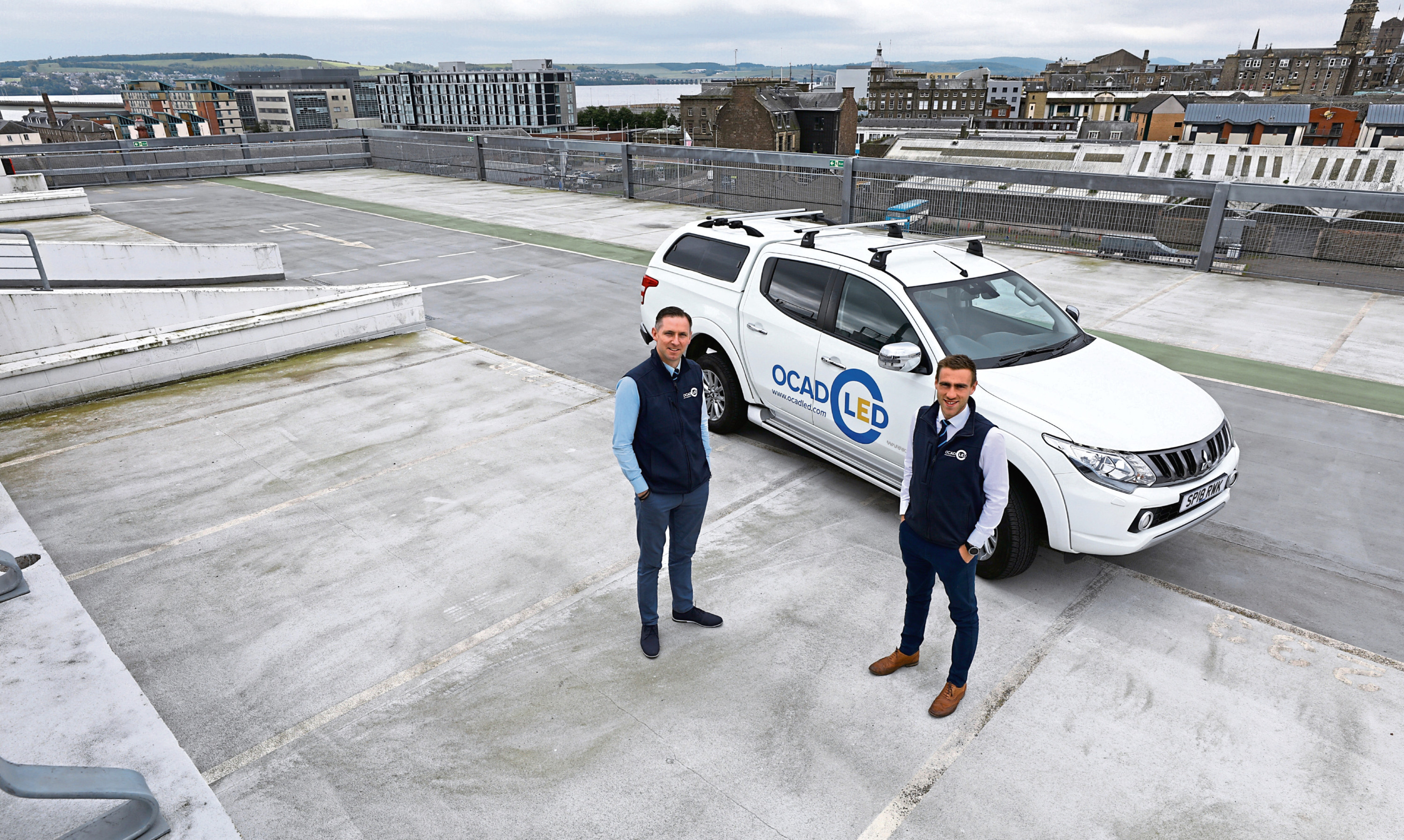 OCAD LED managing director Euan Donaldson and project manager Gary Mackie at Olympia car park in Dundee, where they have upgraded the lighting systems.