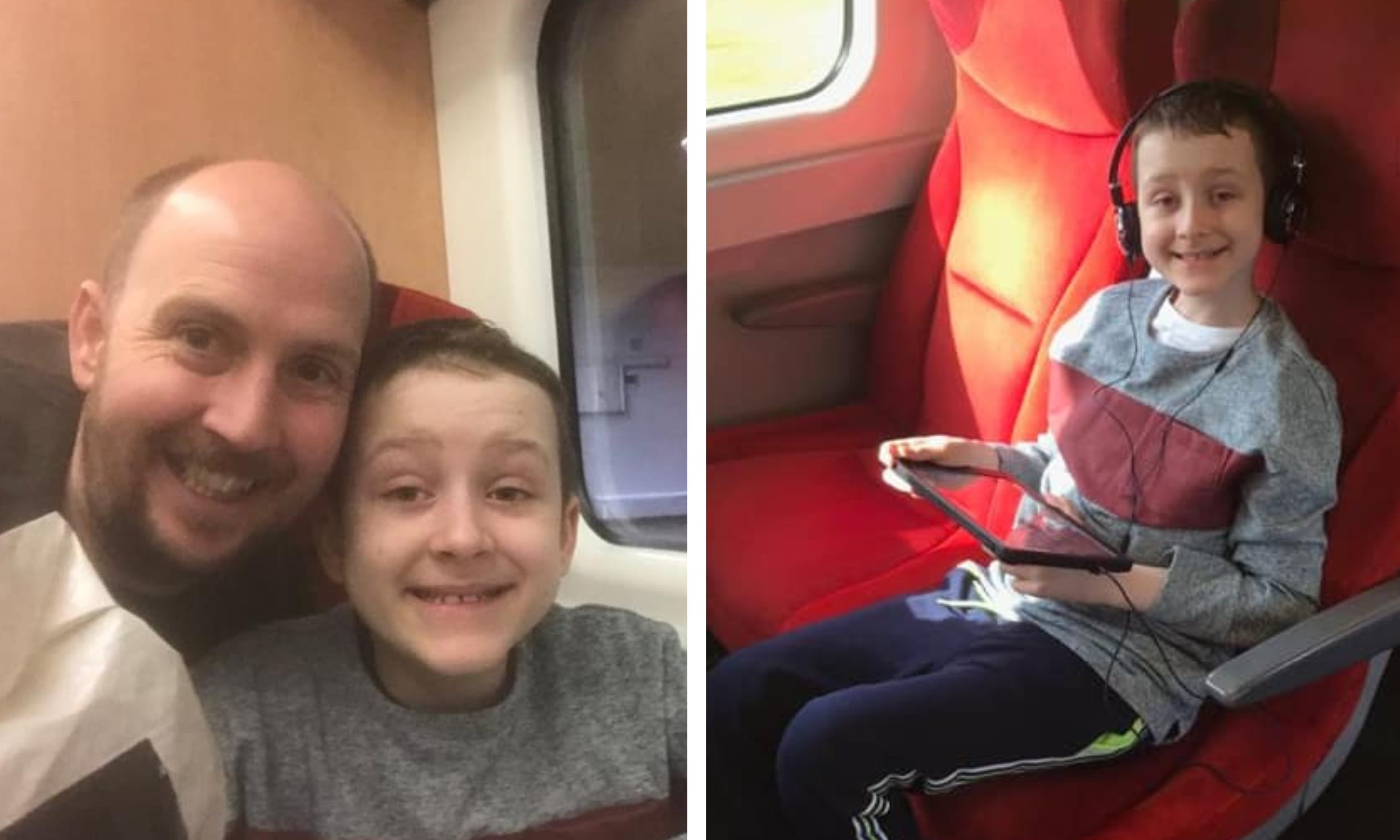 Aaron Murphy and his dad Dougie during their recent trip to Great Ormond Street Hospital in London (left).